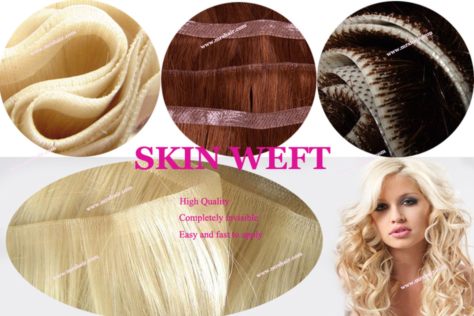Skin Weft Hair Extensions New Invisible Method Velvet Cuticle